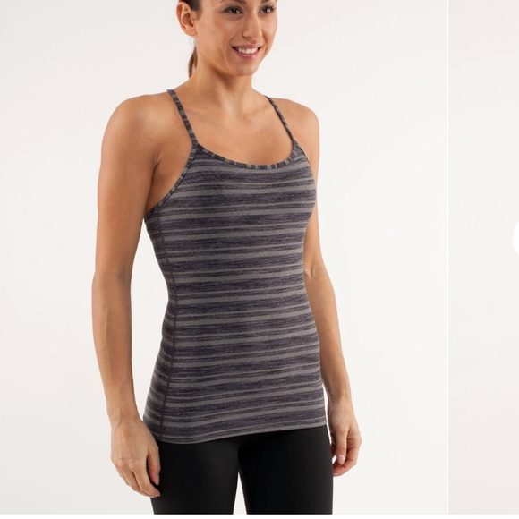 730c9b609863f lululemon athletica Tops - Lululemon Black Stripe Galore Power Y Tank Top 10